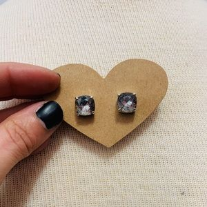 Large Gray Square Crystal Stud Earrings